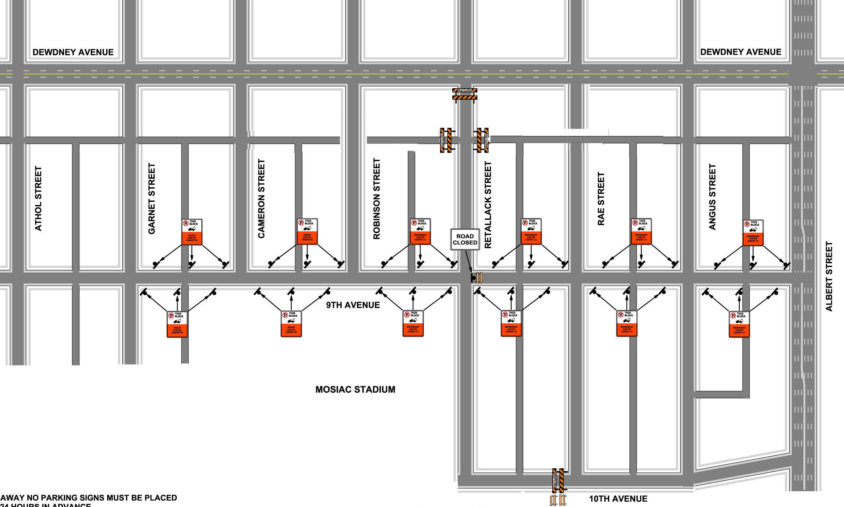 Labour Day Road and Parking Map