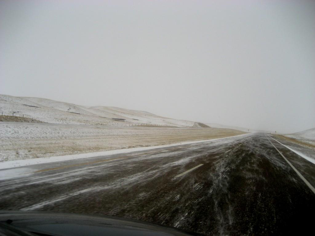 winter road highway prairie